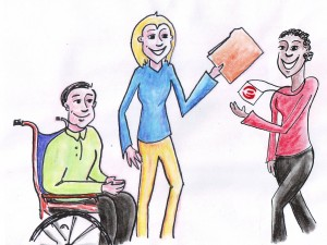 Wheelchair user and support