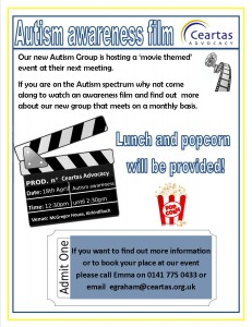 Poster to promote new autism group
