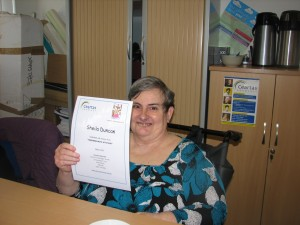 Sheila with her cert