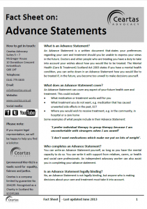 Advance Statements factsheet