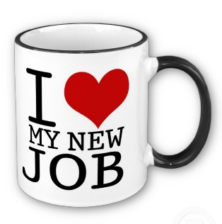 White mug with 'I ♥ My New Job' on the side