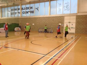 Walking Football in the gym at Kirkintilloch Leisure Centre