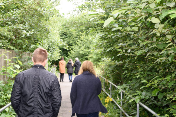 A group of people walking away from the camera along a woodland path