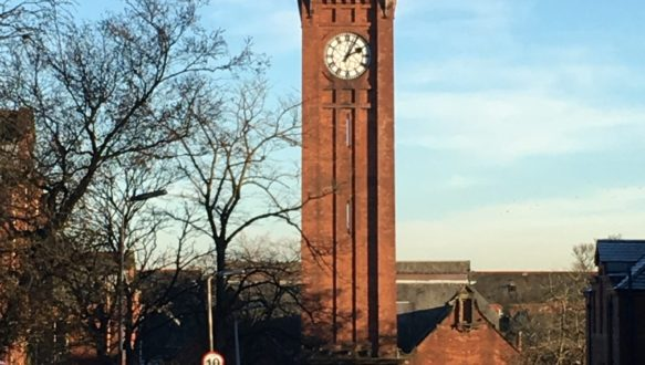 Clock tower at Stobhill Hospital