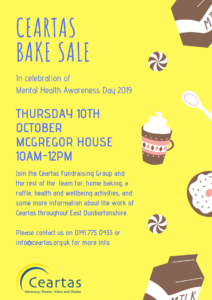 Poster for Cake Sale, 10th October 10AM until 12PM