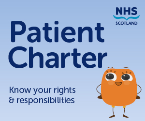 Image saying Patient Charter with small cartoon considering their rights and responsibilities