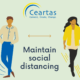 man and woman social distancing