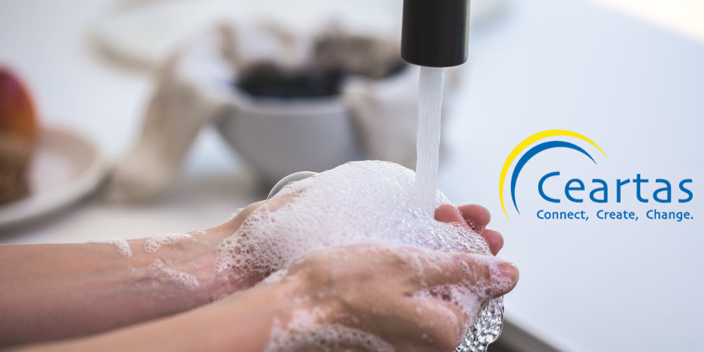Man washing hands with Ceartas logo