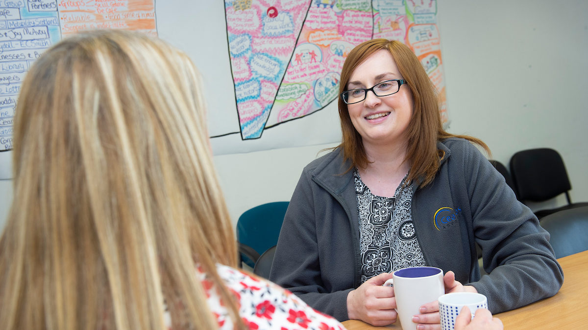 Gemma chatting to a service user