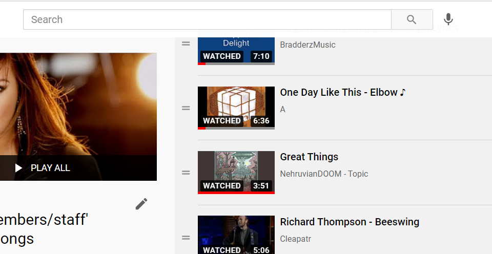 screen grab of Youtube playlist