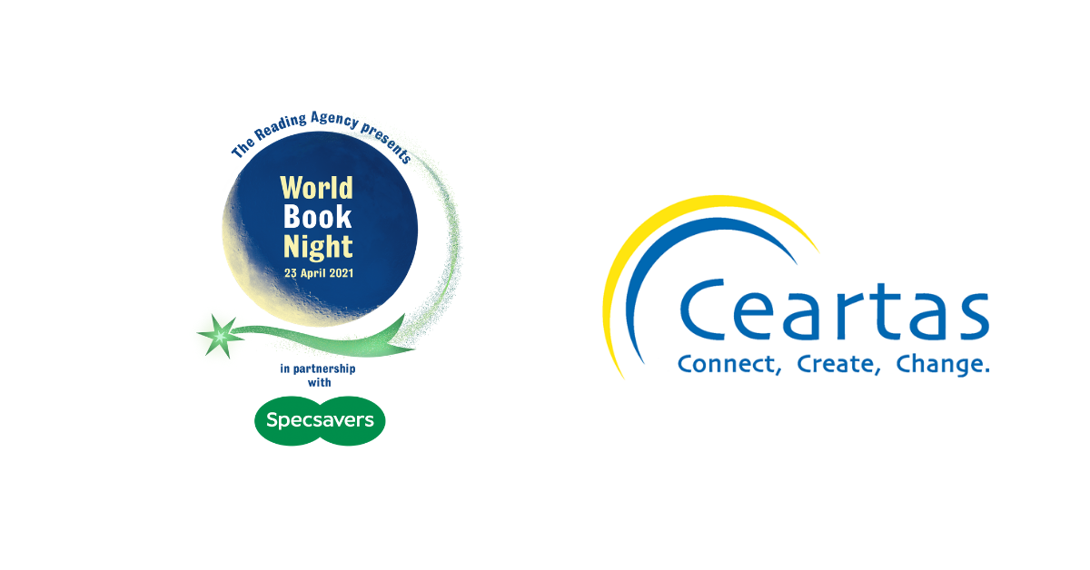 header image of Ceartas logo and World book night logo
